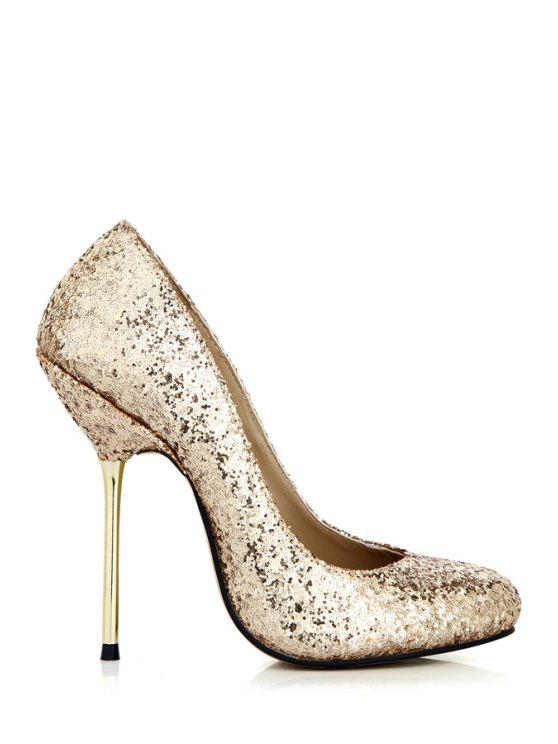 fashion Round Toe Stiletto Heel Sequined Pumps - GOLDEN 35
