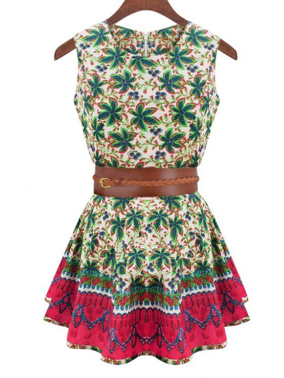 trendy Sleeveless Floral Print Flare Dress - COLORMIX S
