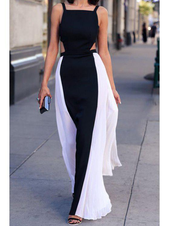 buy Spaghetti Strap Black White Splicing Backless Maxi Dress - WHITE AND BLACK S