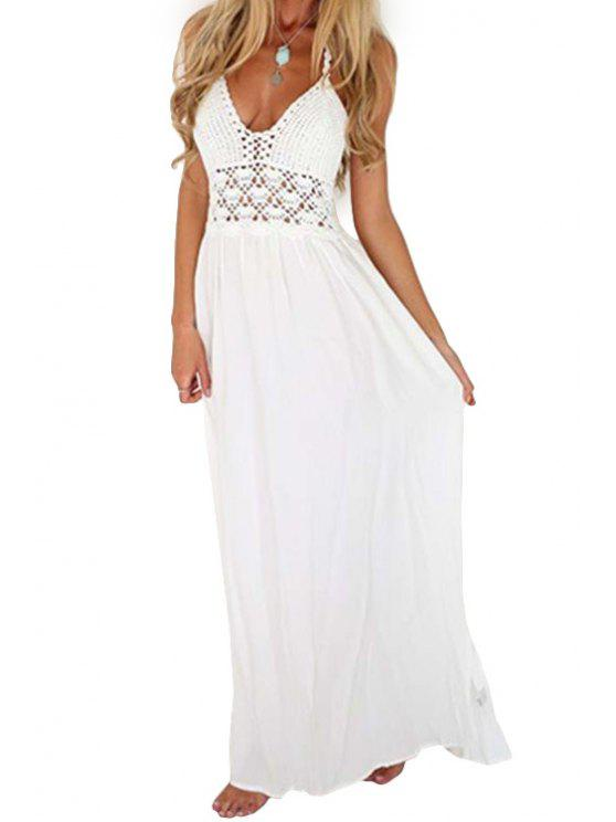 new Openwork Backless Solid Color Maxi Dress - WHITE S