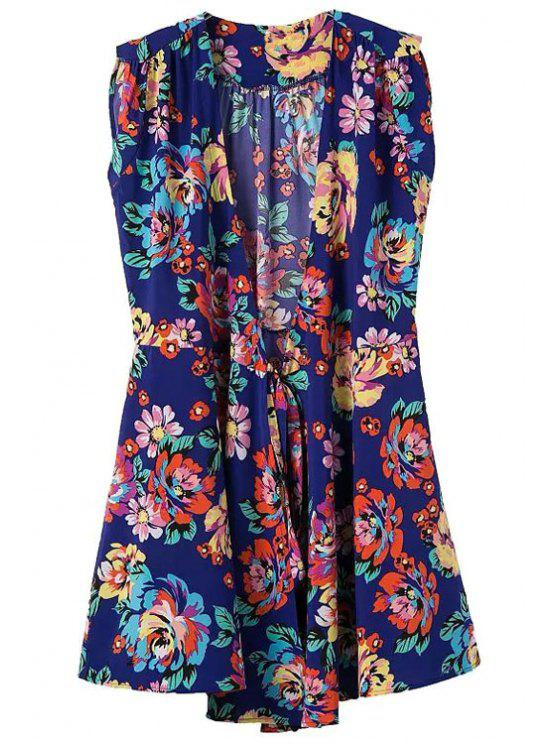 shops Plunging Neck Colorful Floral Print Dress - PURPLISH BLUE S