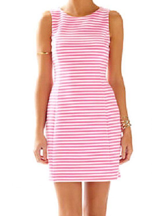 trendy Round Neck Pink Striped Sundress - STRIPE S
