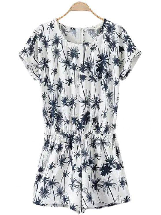women's Coconut Tree Print Short Sleeve Romper - WHITE S