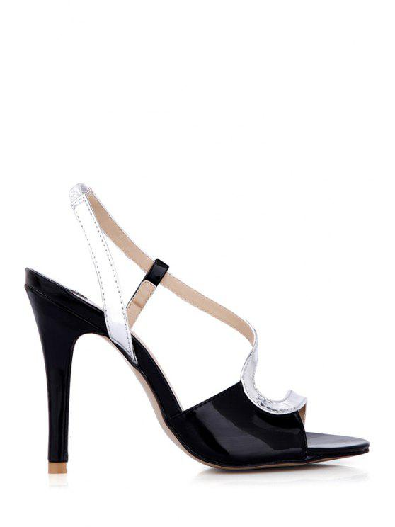 outfit Color Block Stiletto Heel Sandals - SILVER 35