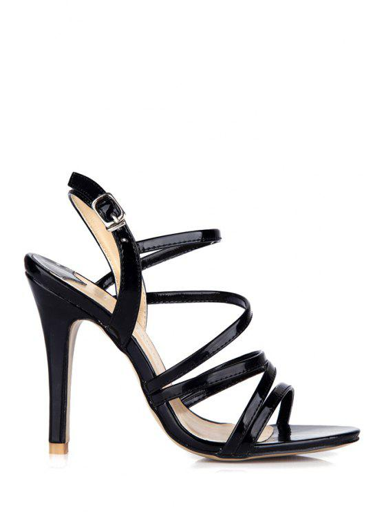 chic Patent Leather Stiletto Black Sandals - BLACK 39
