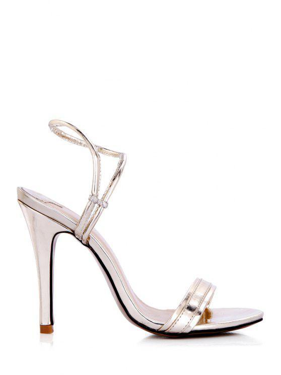 unique Solid Color Stiletto Heel Sandals - LIGHT GOLD 35
