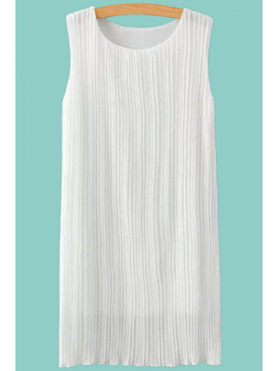 latest Jewel Neck Ruffle Solid Color Sleeveless Dress - WHITE S