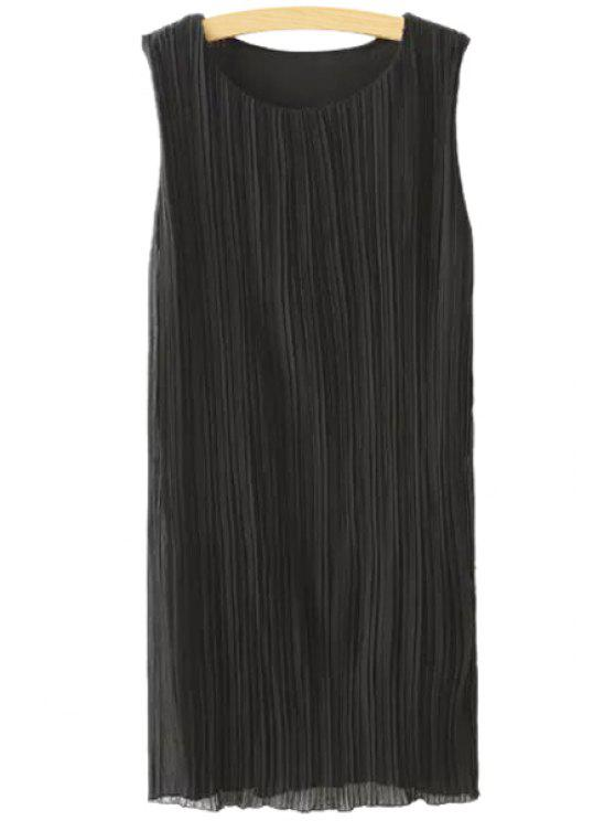 lady Jewel Neck Ruffle Solid Color Sleeveless Dress - BLACK S