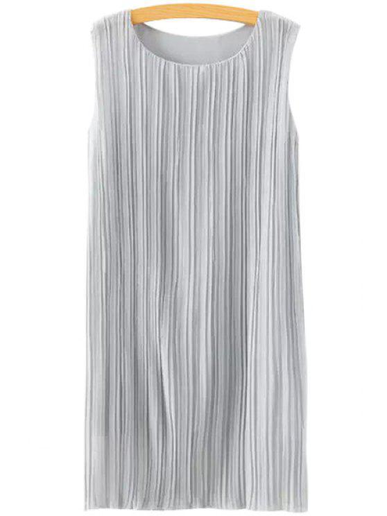 hot Jewel Neck Ruffle Solid Color Sleeveless Dress - GRAY S