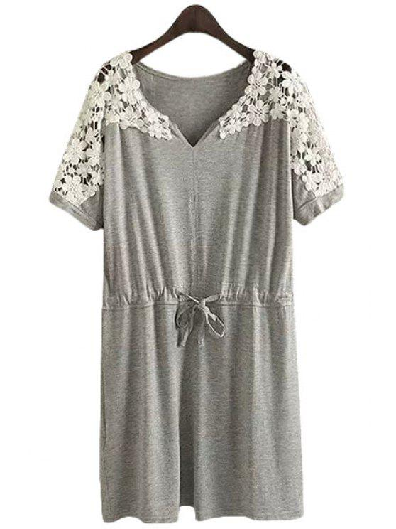 latest Lace Splicing Openwork Tie-Up Short Sleeve Dress - GRAY S