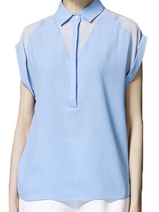 affordable Short Sleeve Solid Color Chiffon Shirt - BLUE M