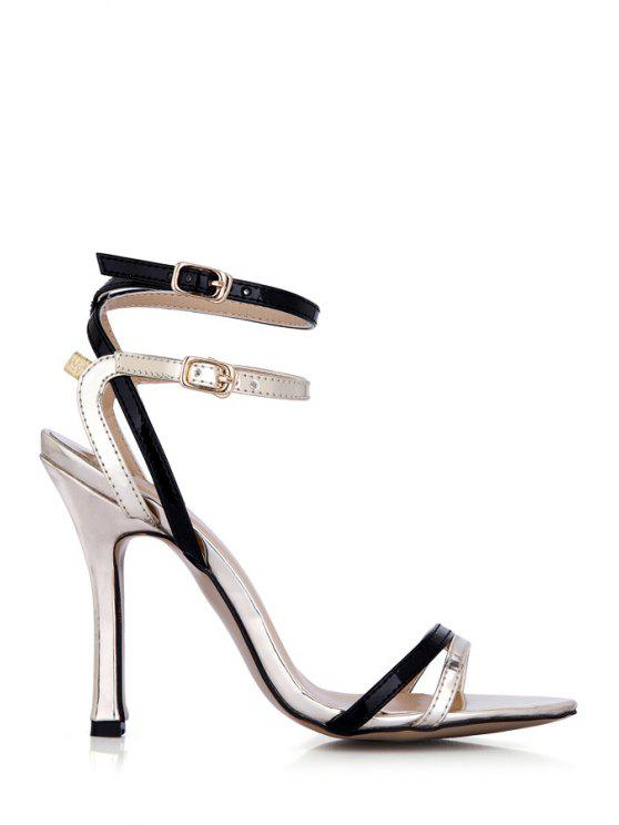 women's Stiletto Heel Color Block Buckle Sandals - LIGHT GOLD 35