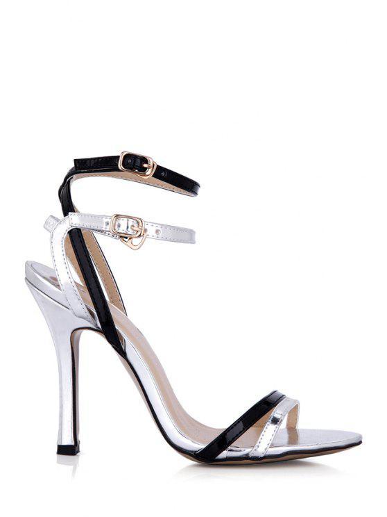 sale Stiletto Heel Color Block Buckle Sandals - SILVER 39