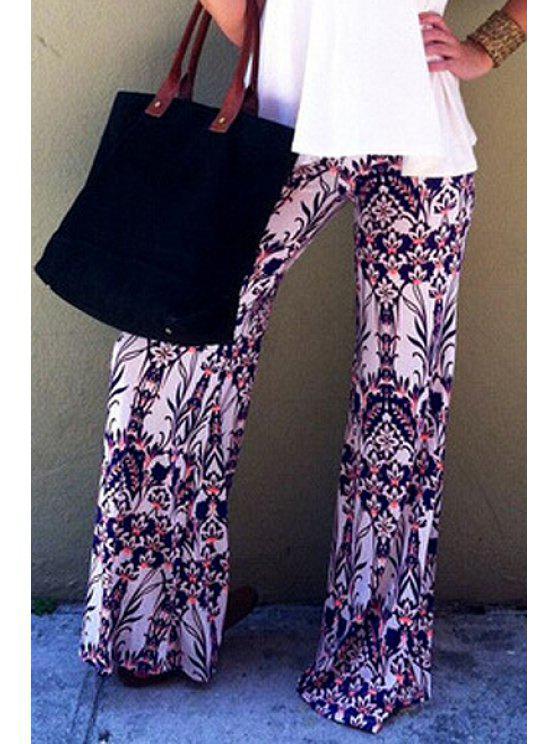 shop Floral Print Wide Leg Exumas Pants - WHITE S