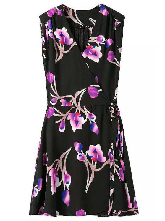 sale Purple Floral Print Tie-Up Sleeveless Dress - BLACK S