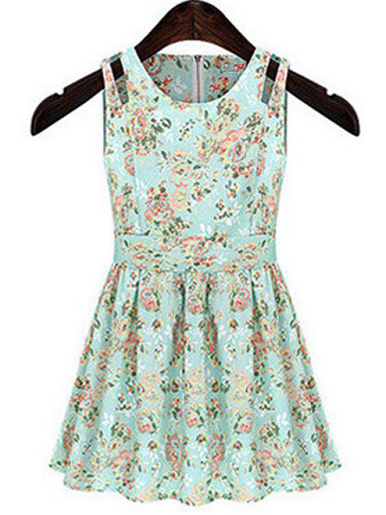 chic Tiny Floral Pirnt A-Line Sundress - LIGHT GREEN M