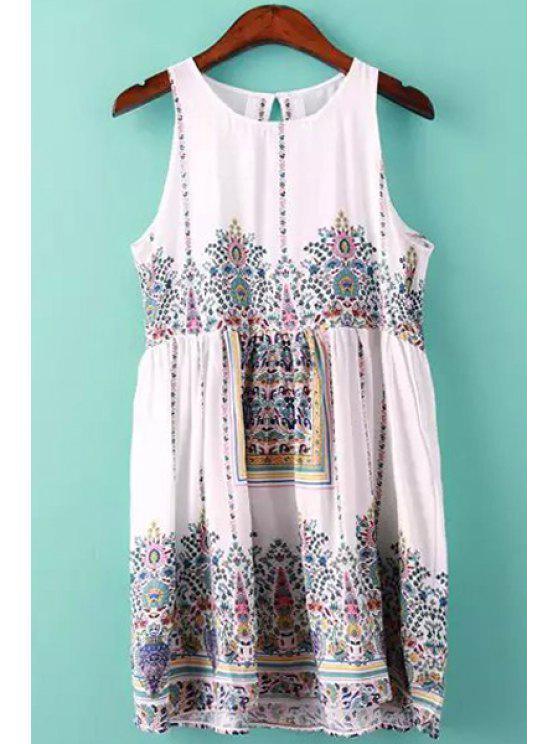 affordable Jewel Neck Tiny Floral Print Dress - WHITE S
