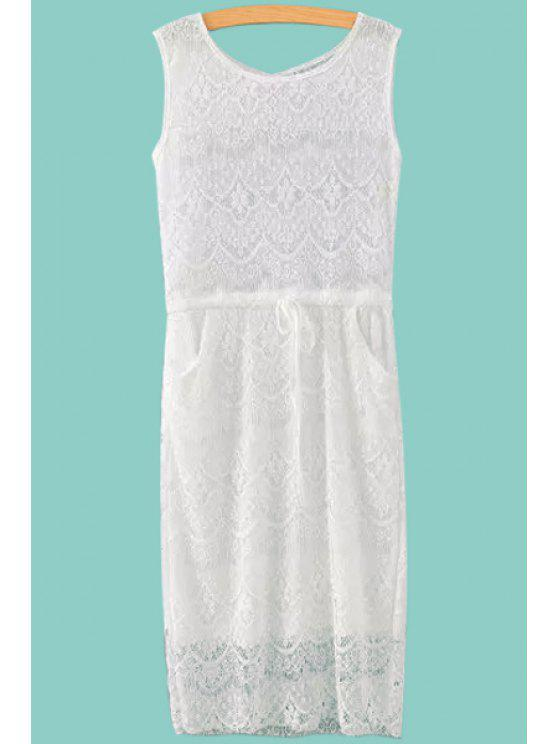 buy Solid Color Openwork Lace Sleeveless Dress - WHITE S