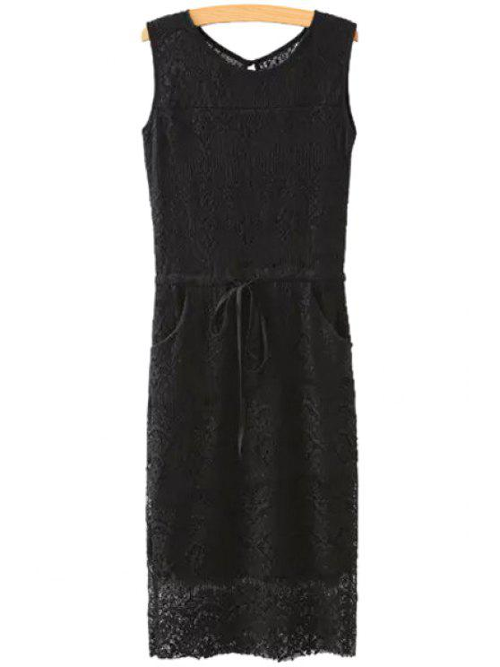 ladies Solid Color Openwork Lace Sleeveless Dress - BLACK S