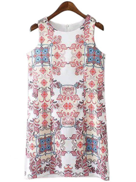 outfit Red Floral Print Straight Sleeveless Dress - WHITE S
