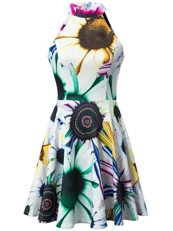 affordable Stand-Up Collar Sunflower Print Sleeveless Dress - COLORMIX S
