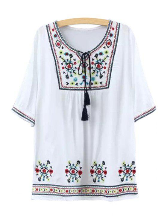 best Tiny Floral Embroidery Half Sleeve Dress For Women - WHITE ONE SIZE(FIT SIZE XS TO M)