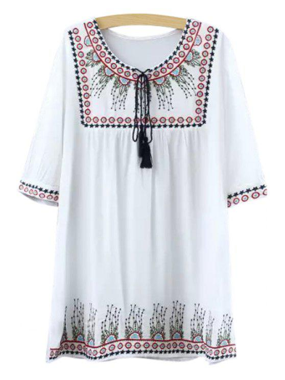 online Floral Star Pattern Embroidery Half Sleeve Dress - RED ONE SIZE(FIT SIZE XS TO M)