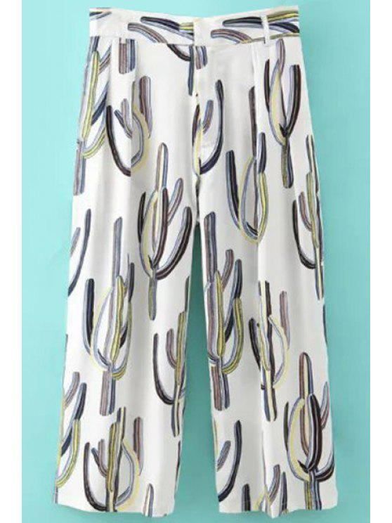 fashion Cactus Print Zipper Fly Pants - WHITE S