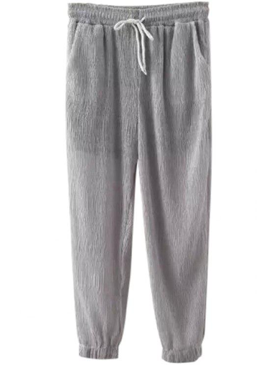 outfits Ruffle Solid Color Elastic Waist Pants - GRAY M