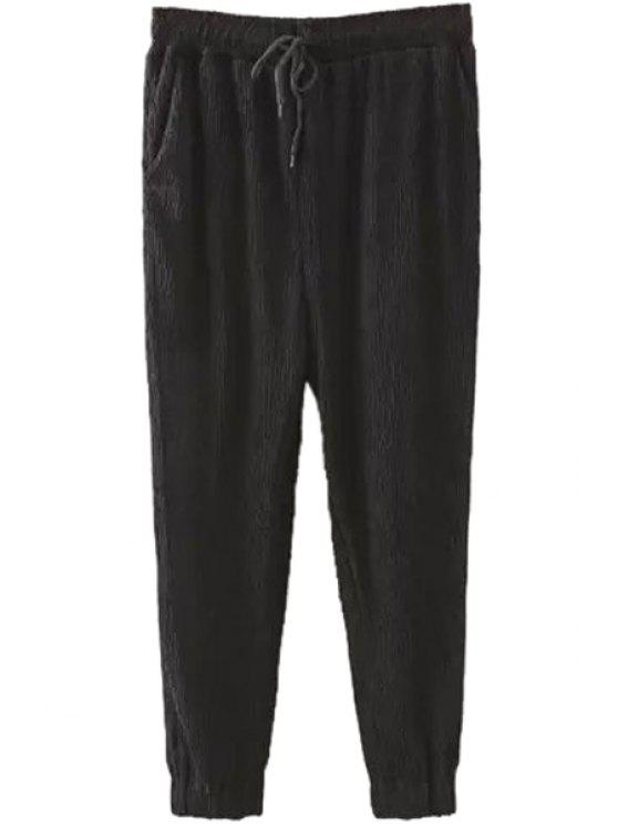 shops Ruffle Solid Color Elastic Waist Pants - BLACK S