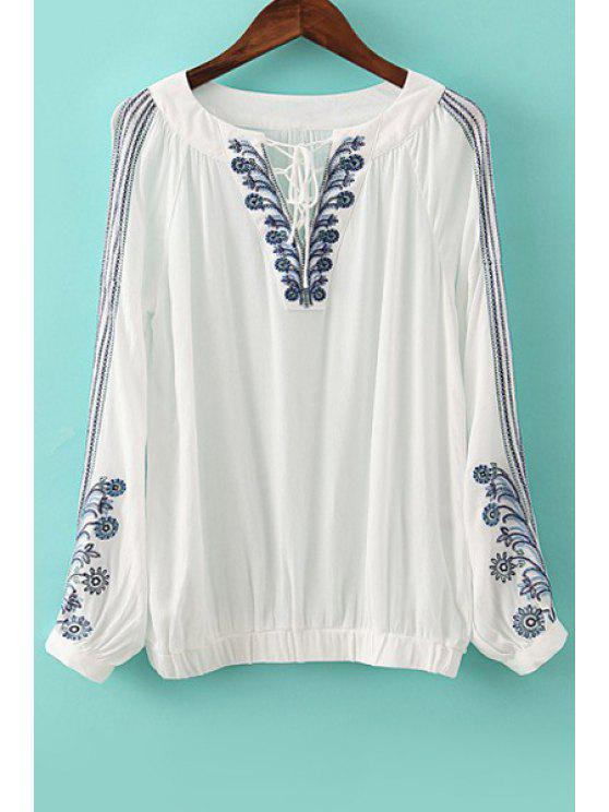 outfits Floral Embroidery Tie-Up Long Sleeve Shirt - WHITE S