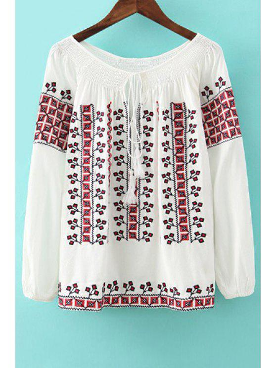 latest Plaid Embroidery Tie-Up Long Sleeve Shirt - WHITE S