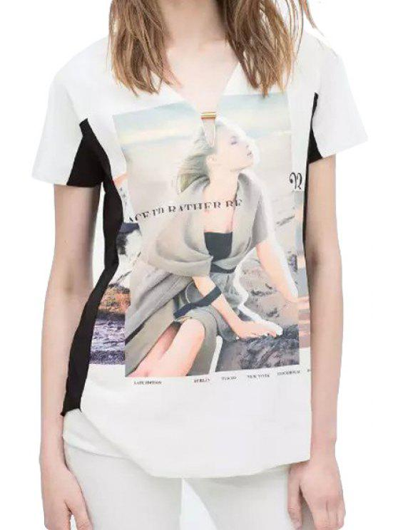 hot Figure Print Color Block Short Sleeve T-Shirt - WHITE S