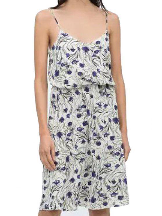 women Spaghetti Strap Purple Floral Print Dress - BLUE AND WHITE S