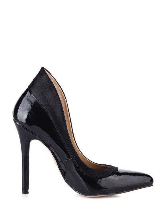 ladies Splicing Patent Leather Stiletto Heel Pumps - BLACK 35
