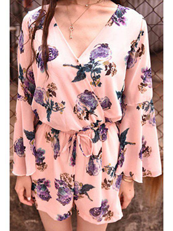 women Long Sleeve Full Floral Print Romper - PINK M