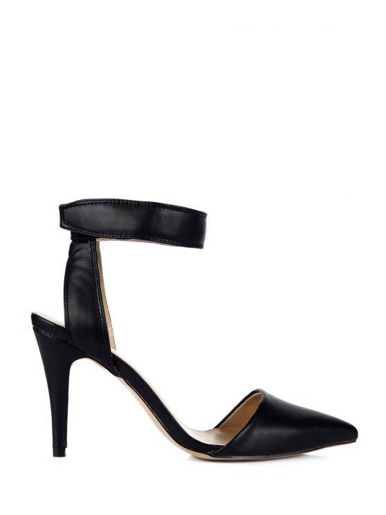 latest Pointed Toe Black Stiletto Heel Sandals - BLACK 35