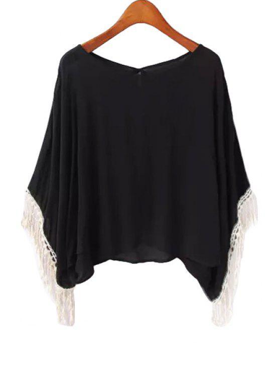 lady Tie-Up Lace Tassel Splicing Blouse - BLACK S