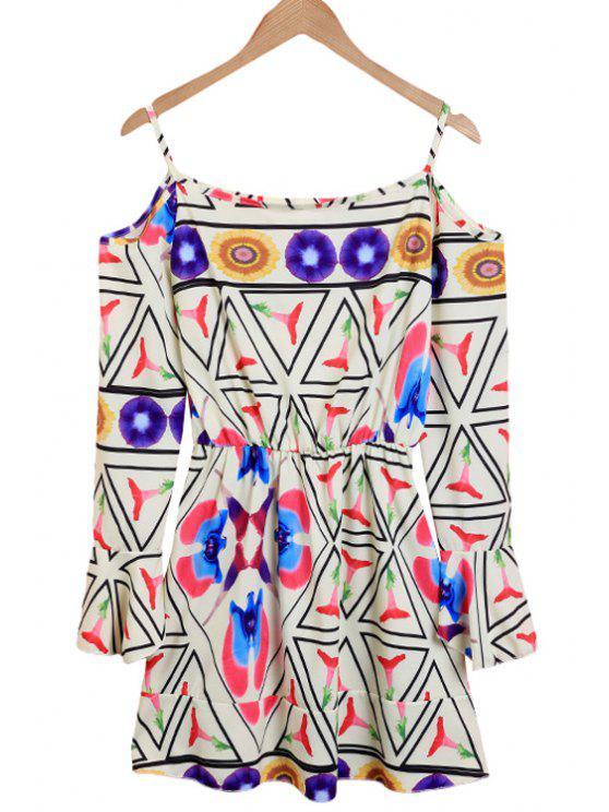 shop Geometric Print Spaghetti Straps Dress - COLORMIX S