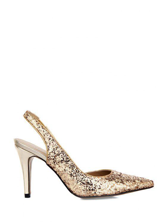 online Sequined Pointed Toe Stiletto Heel Sandals - GOLDEN 35