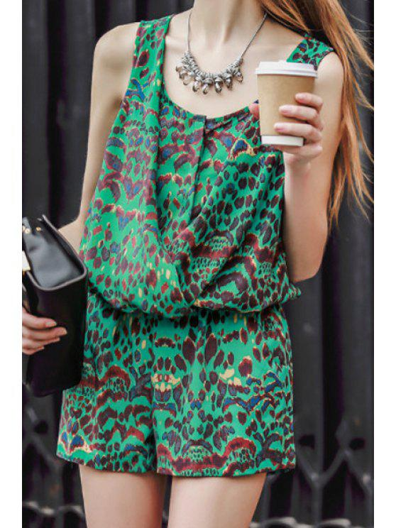 women Green Leopard Pattern Sleeveless Romper - GREEN S