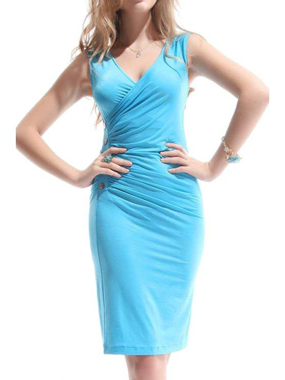 buy V-Neck Solid Color Bodycon Dress - LAKE BLUE S