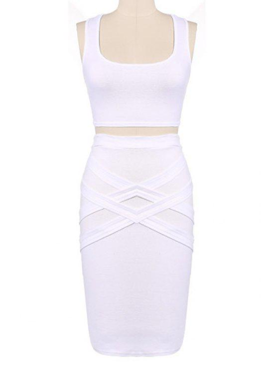 shops Crop Top and Solid Color Pencil Skirt Suit - WHITE L