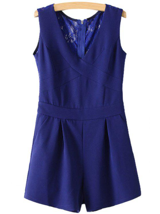 chic Back Lace Splicing Solid Color Sleeveless Romper - BLUE S
