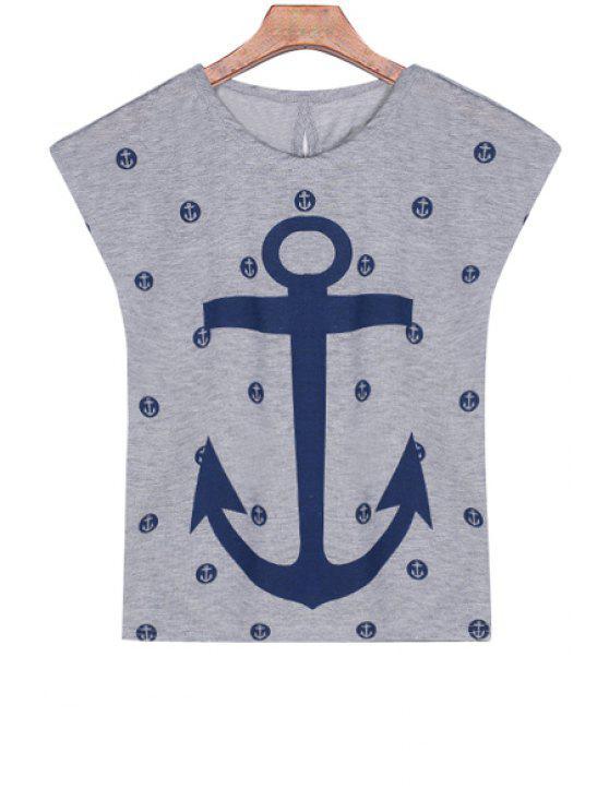 hot Anchor Print Short Sleeve T-Shirt - GRAY S