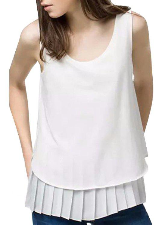 fashion White Pleated Spliced Tank Top - WHITE S
