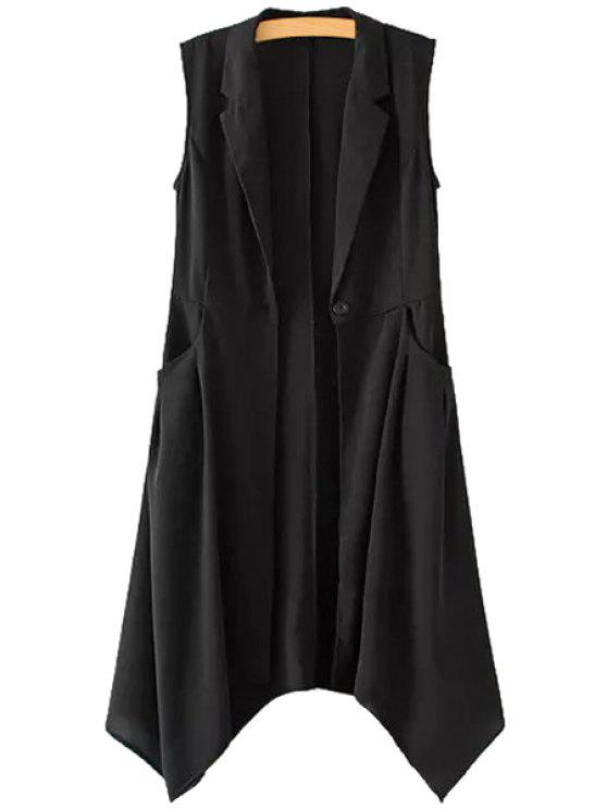 trendy Solid Color One Button Asymmetrical Sleeveless Waistcoat - BLACK S