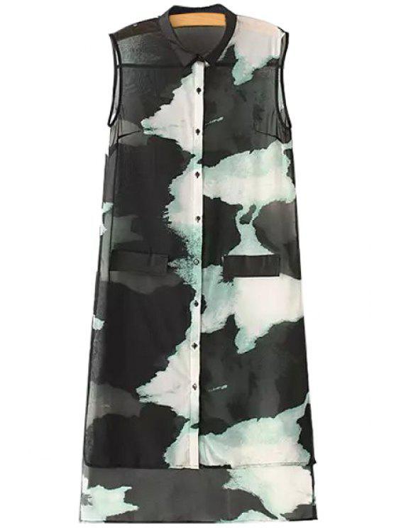 shop Turn-Down Collar Color Block Print High Low Sleeveless Shirt - BLACK S