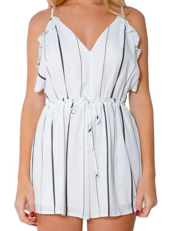 womens Spaghetti Strap Stripe Flounce Tie-Up Sleeveless Romper - WHITE S