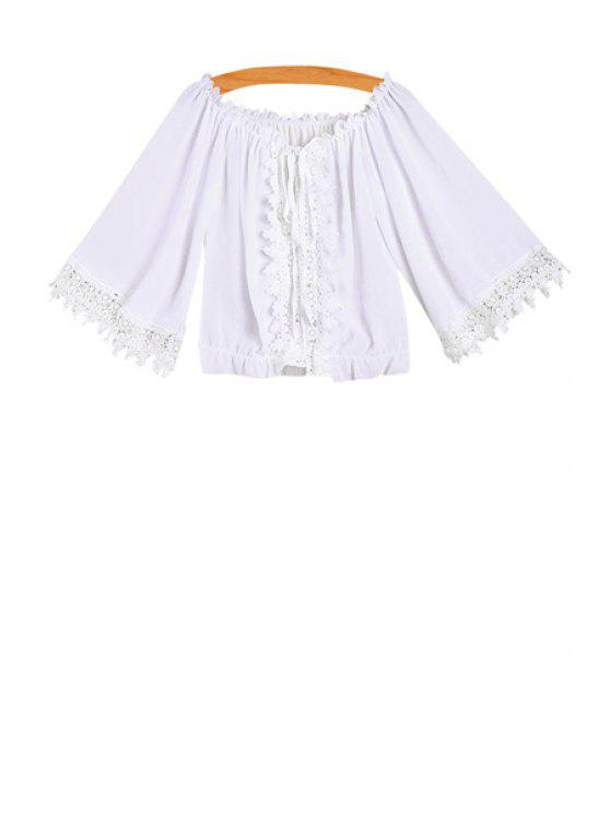 chic Slash Collar Lace Spliced Blouse - WHITE ONE SIZE(FIT SIZE XS TO M)